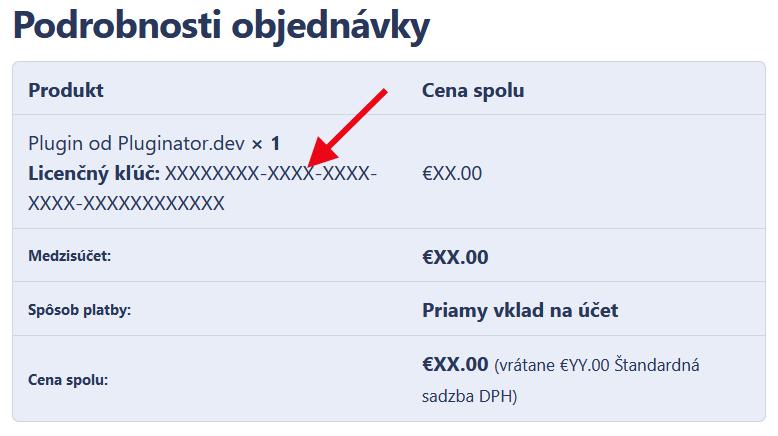 Ziskanie licenčného kľúču z Pluginator.dev